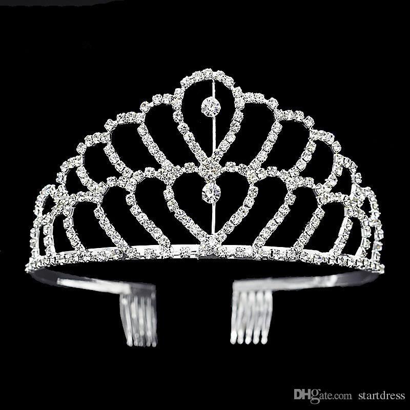 Lüks taç Parlak Kristal Gelin Tiara Parti Pageant Gümüş Kaplama Düğün Taçlar Hairband Tiaras Of Ucuz Düğün Saç Aksesuarları 2017
