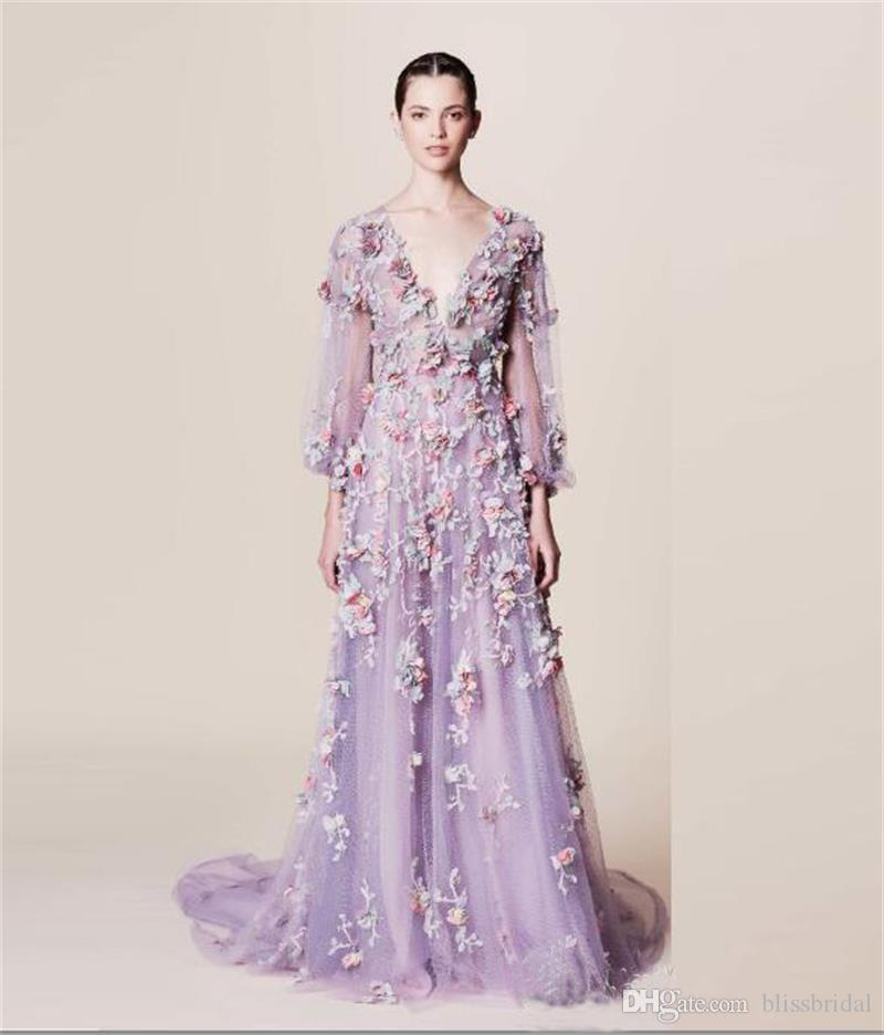 Marchesa Resort Arabic Prom Dresses Deep V-Neck Tulle Women Prom Gowns Floor Length Embroidery Prom Dresses
