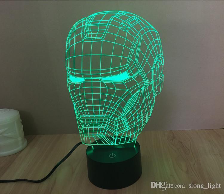 3d color changeable avengers iron man helmet model led night light usb 3d led mood lamp
