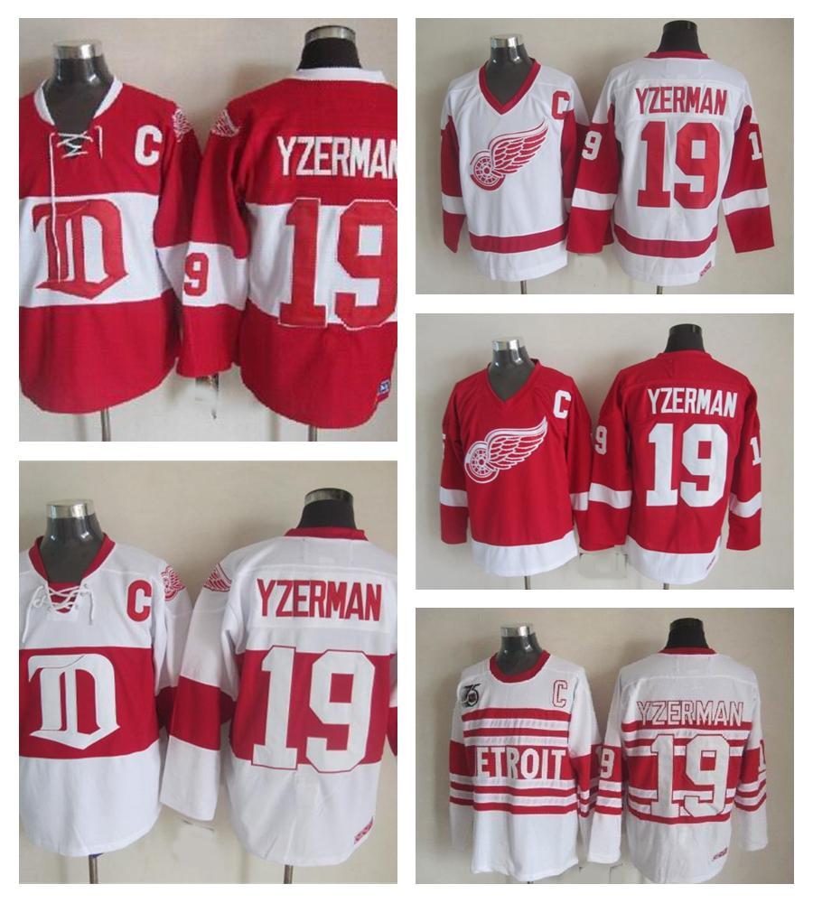 망 빈티지 디트로이트 레드 날개 # 19 Steve Yzerman Hockey Jerseys 홈 레드 빈티지 겨울 클래식 레드 화이트 스티브 Yzerman 저지 C 패치