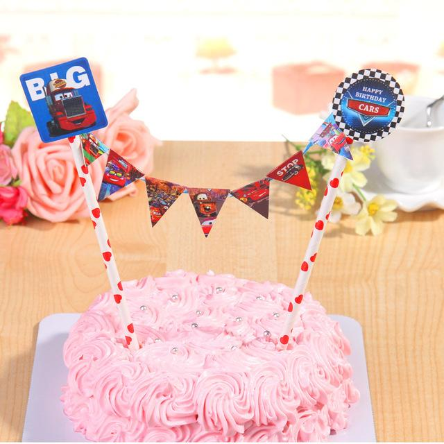 2020 Wholesale The Car Paper Flag Cake Topper Set For Kids ...