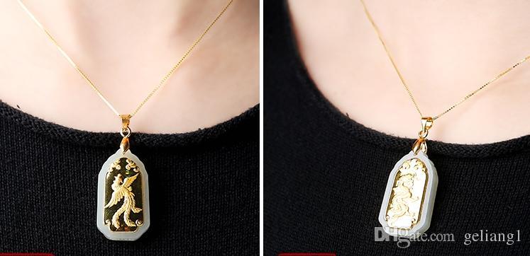 Lucky gold embutidos pingente de jade retângulo longfeng (amantes). Pingente de colar.