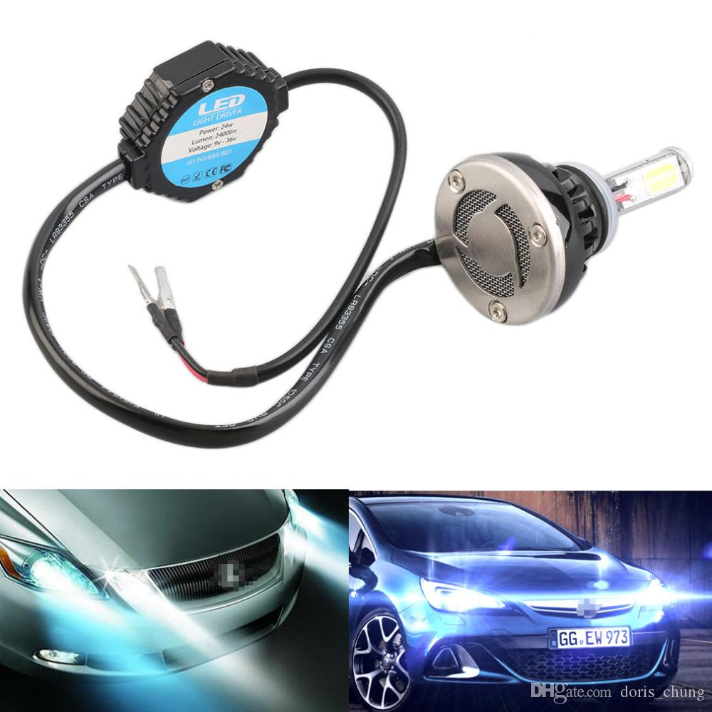 NUEVA 880 40W 4000lm 6000K Luz blanca Lámpara LED principal del coche COB2 con ventilador Play Plug Negro + plata DRL bombillas de reemplazo reemplazar HID