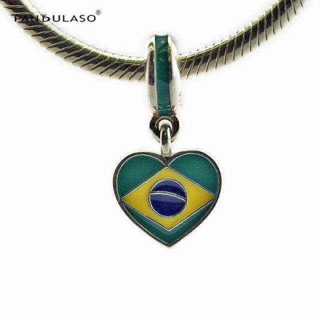 Coração do brasil Bandeira Esmaltes Misturados Contas Esterlina-Prata-jóias Beads Serve Pulseiras Pandora DIY Mulher Pulseiras Atacado Novas Contas