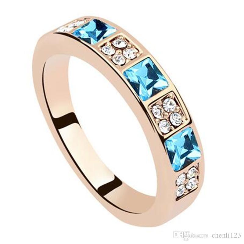 Cristal austriaco de Swarovski Elements Anillos del encanto Anillos del banquete de boda de la mujer del Rhinestone de la moda de alta calidad 8537