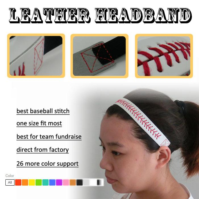 2016 wholesale new design 26 colors SOFTBALL SEAMSTITCH HEADBAND Stretch Sports SoftbalElastic Sport LEATHER headband free DHL