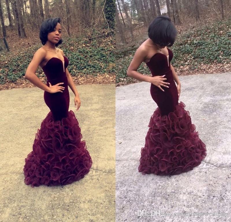 Mode africaine sirène robes de bal Soirée 2016 chérie Bourgogne volants longues femmes robes de soirée formelles faites sur mesure
