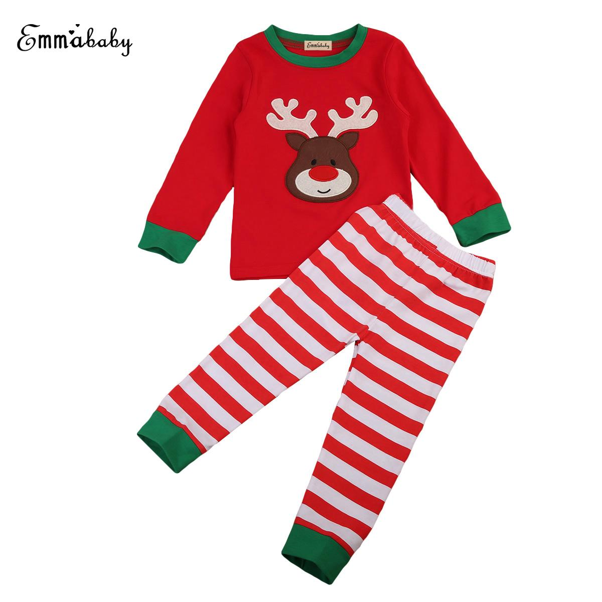 Kids Baby Boys Girls Christmas Pajamas Set Long Sleeve Santa Claus T-Shirt Top Striped Pants Outfit
