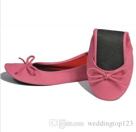 2019 Hot Sell Wedding White flat roll up shoes fold up ballerina shoes in bag