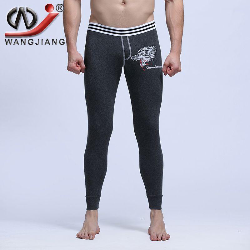 Wholesale-Sexy Long Johns 2016 WJ Cotton Thermal Underwear Sexy Warm Low Rise Pouch Bottom Leggings Print Wolf Thermo WJ Men Long Johns