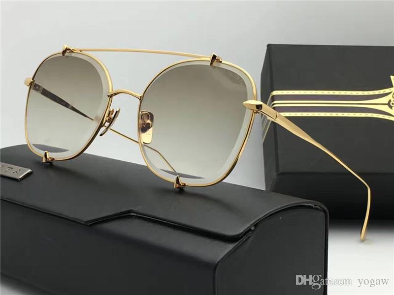 Nuevas gafas de sol Caja Sun espejo Gafas de sol con gafas Lenes Mujeres Oro / Oro Gafas de oro Flash Flash Beach MQBNG