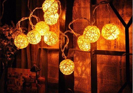 4M 20 LED Rattan Ball Lantern Sepak takraw String Fairy Light Ghirlande per Capodanno Festa di Natale Decoration110V-240V