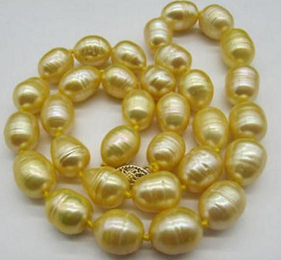 10-11MM الذهب الباروك الطبيعية لؤلؤ المياه العذبة قلادة المختنق 18INCH 14k الذهب المشبك صندوق الحرة