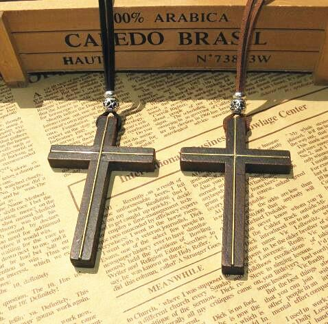 Inlaid copper wooden cross pendant necklace vintage leather cord sweater chain men women jewelry handmade stylish Christian Jesus 12pcs