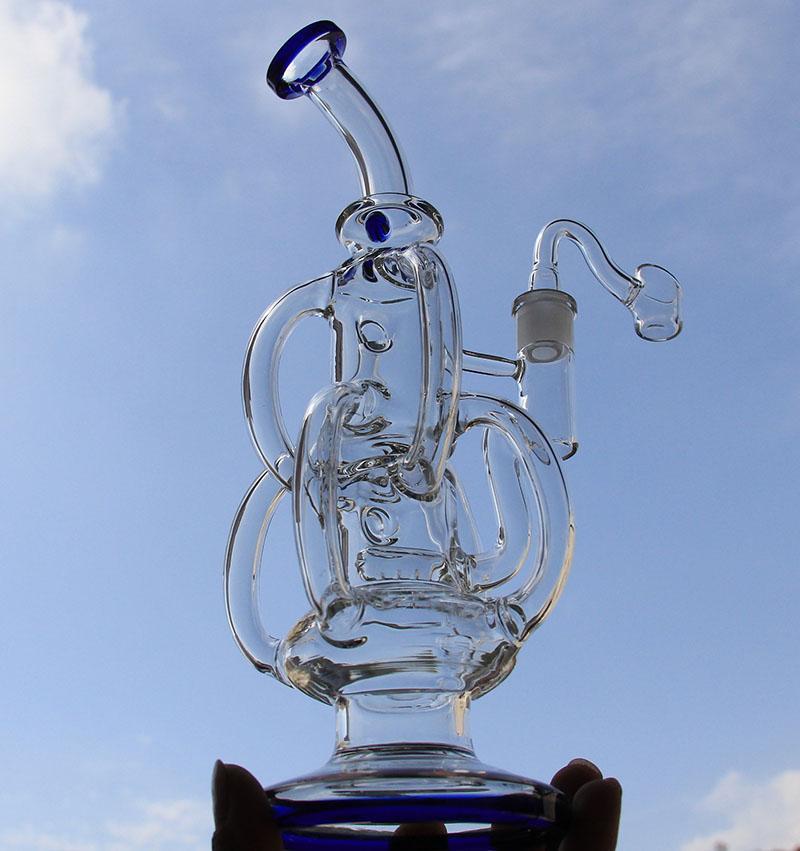 """11.2 """"Tuyaux d'eau de verre de verre Tuyaux d'eau des tuyaux d'eau de baril recycleur de baril recycleur avec deux accessoires 14.4mm joint"""