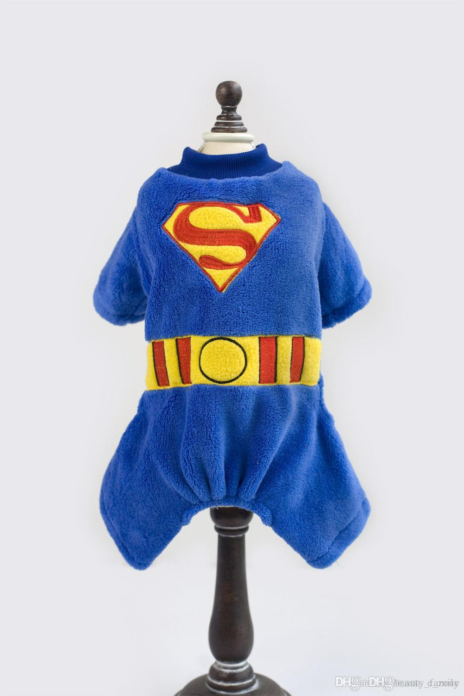 A42 dog warm coat for 4 legs --Super man design pet Coral fleece clothing pet dog winter coat