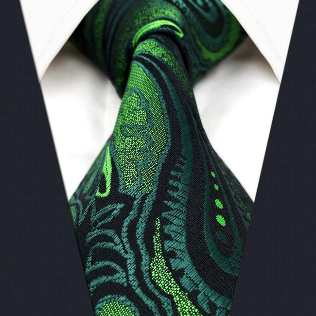 U30 페이즐리 꽃 어두운 녹색 블랙 남성 넥타이 넥타이 100 % 실크 엑스트라 롱 자카드 직물 브랜드 뉴