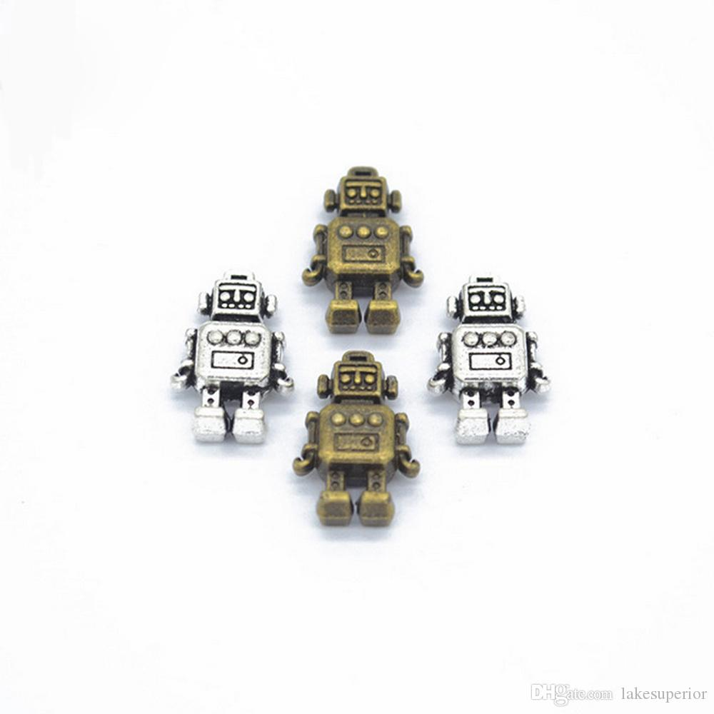 18*11mm Retro vintage cartoon robot alloy pendants jewelry making components charms diy accessories antique bronze antique silver