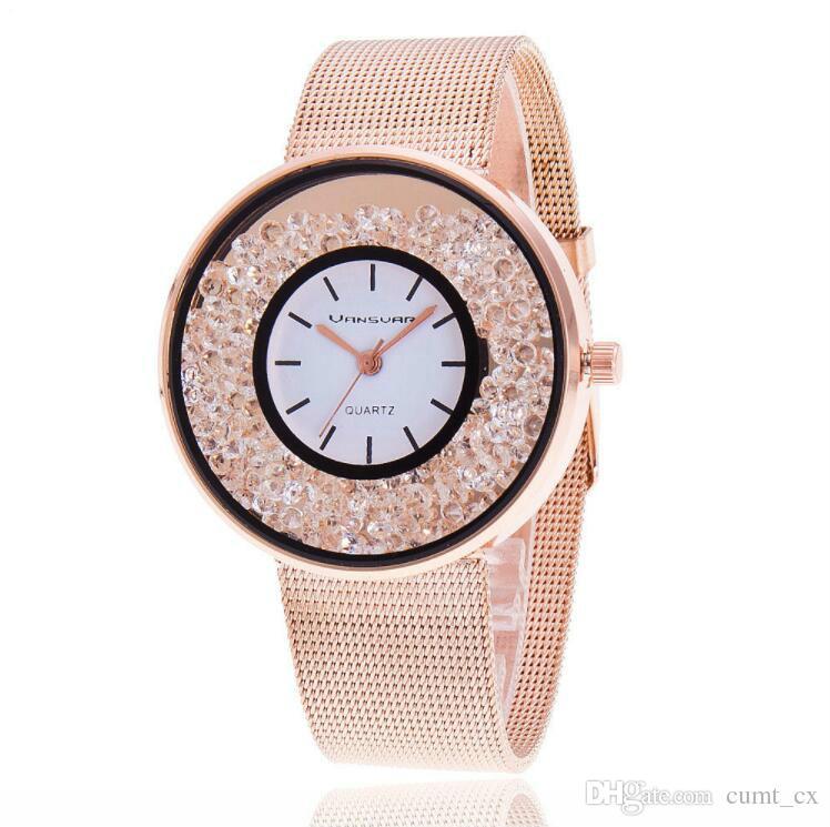 Nova Moda de Aço Inoxidável Banda De Prata De Ouro de Quartzo Wtach Luxo Mulheres Rhinestone Relógios Presente Do Valentim Frete Grátis