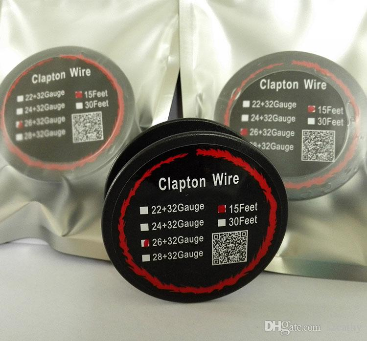 E Cigs RDA Atomizer DIY E Sigaralar 22AWG 24AWG 26AWG 28AWG için Nikrom Clapton Tel Isıtma Telleri Bireysel Paketli 15ft