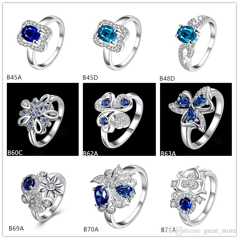 Clover flower geometry blue gemstone 925 silver rings With Side Stones GTGR13,,high grade sterling silver ring 10 pieces mixed style