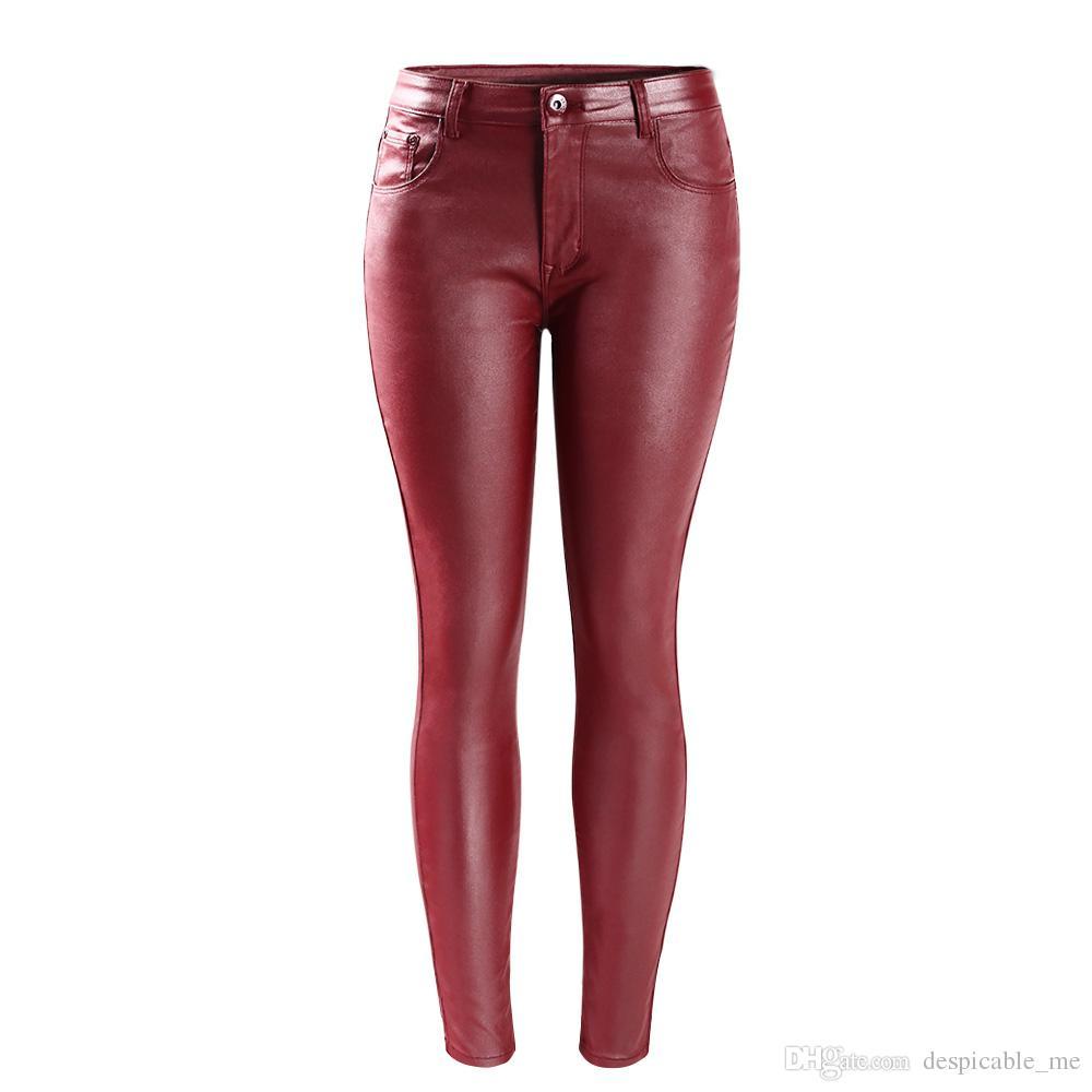 Mujeres `s envío gratis nueva moda mediados de cintura ultra estiramiento rojo de imitación de cuero flaco pantalones Femme Jeans para mujer