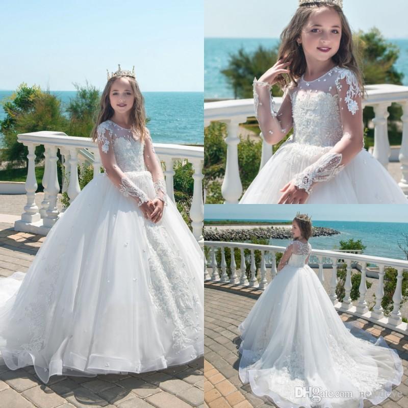 La ragazza di fiore bianco della principessa della manica lunga veste i vestiti completi di spettacolo del collo del gioiello del collo di applique del ricamo di prionic ...