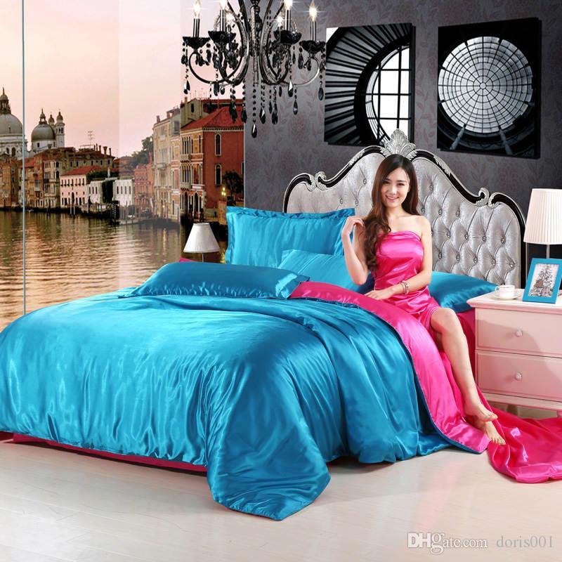 2016 لون الصلبة الحرير الحرير الأزرق + البرقوق اثنين من لون ورقة السرير حجم مجموعة الفراش الملكة / غطاء لحاف / وسادة 4PCS / SET الفضة الفراش المقال