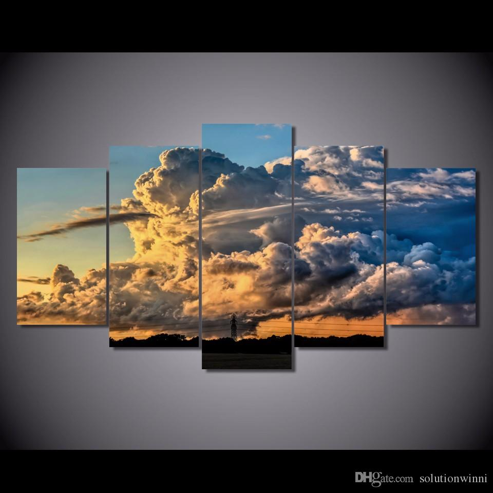 5 Pcs/Set HD Printed storm rain clouds sunset tornadoes Painting Canvas Print room decor print poster picture canvas oil painting