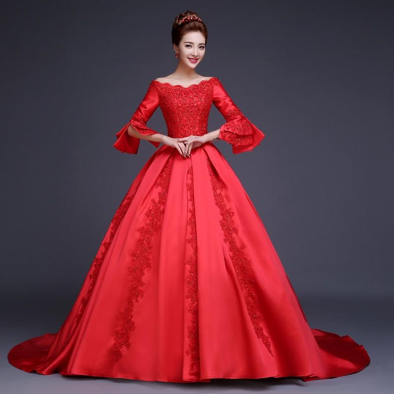 Vintage Red Wedding Dress With Sleeves Off Shoulder Featured Appliques Beads Modest Women Dresses Ball