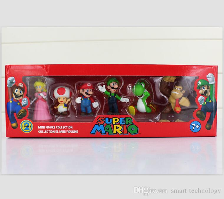 Super Mario Bros Luigi Donkey Kong pesca Action Figures 6pcs / set figura mario yoshi regalo