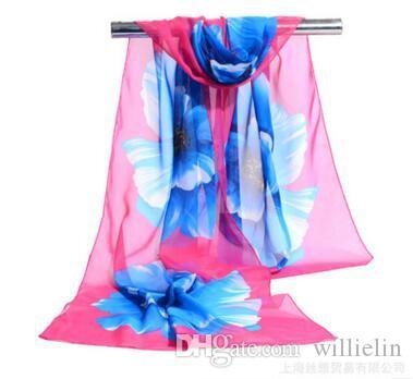 Sciarpa da donna stampata in seta con stampa floreale di lusso per donna