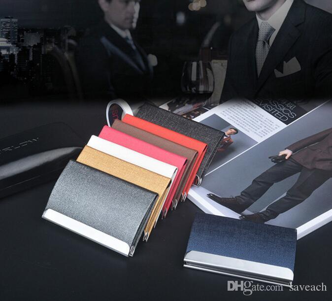 اسم الشركة حامل البطاقة بطاقة الائتمان حامل سعة كبيرة أزياء للجنسين زيارة حالة بطاقة محفظة معدنية جلد صلب صندوق صلب