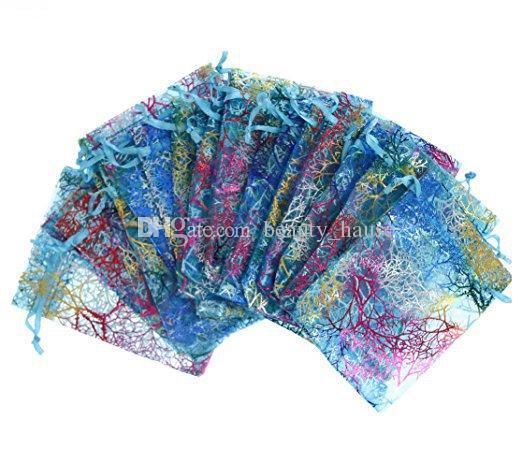 100Pcs Coralline Pattern Drawstring Bolsas de Organza Candy Jewelry Pouches Wedding Party favores de Navidad Bolsas de regalo - Azul, 3 Tamaños