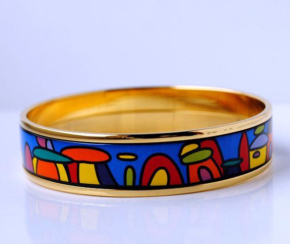 Hundertwasser Village série Bracelet émail plaqué or 18 carats pour femme Top bracelets qualité bracelets largeur 15mm bijoux de mode