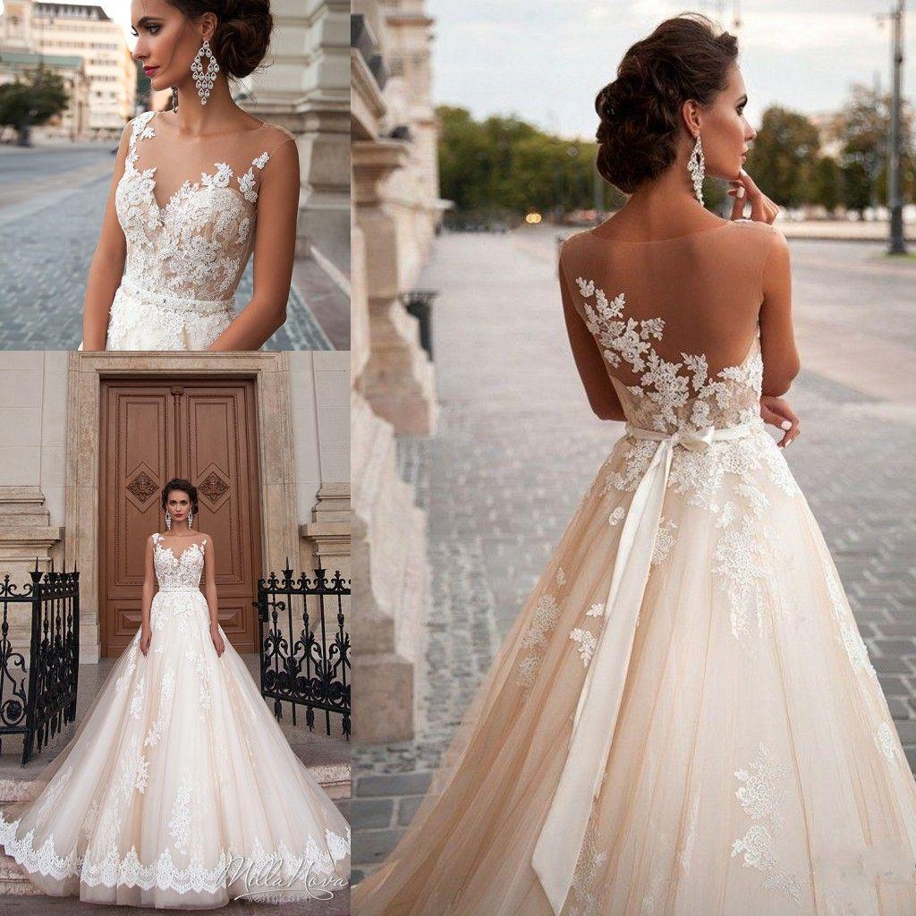 Discount Vintage Mila Nova Champagne Princess Wedding Dresses Illusion Neckline Lace Pearls Sexy Back 2017 Modest Plus Size Bridal Gowns Cheap Online