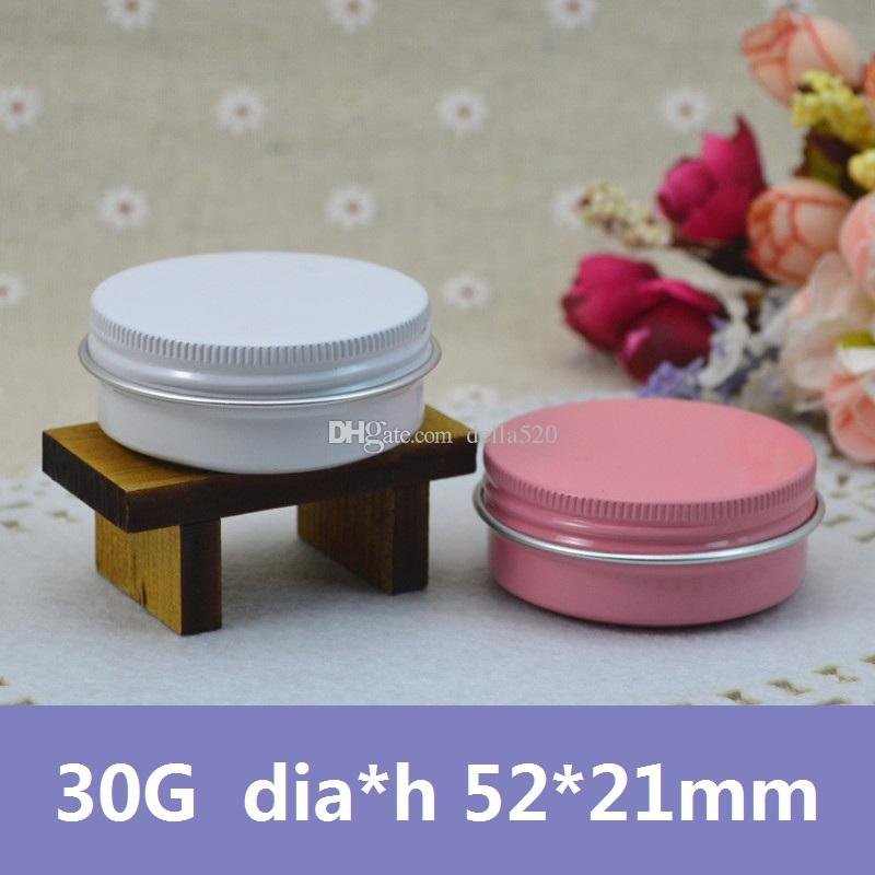 100pcs / lot 30g rond couleur rose / blanc baume à lèvres conteneurs étain à vendre vide aluminium peut pour thé métal vis haut baume à lèvres bocaux