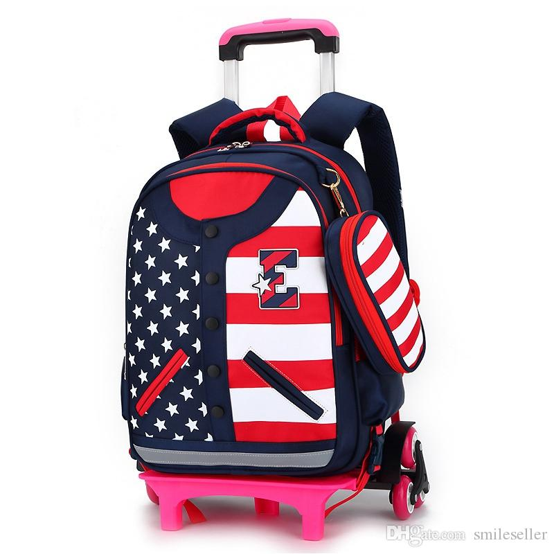 1pc Kids Backpack Trolley Students Schoolbag Pull Rod Detachable Trolley Only