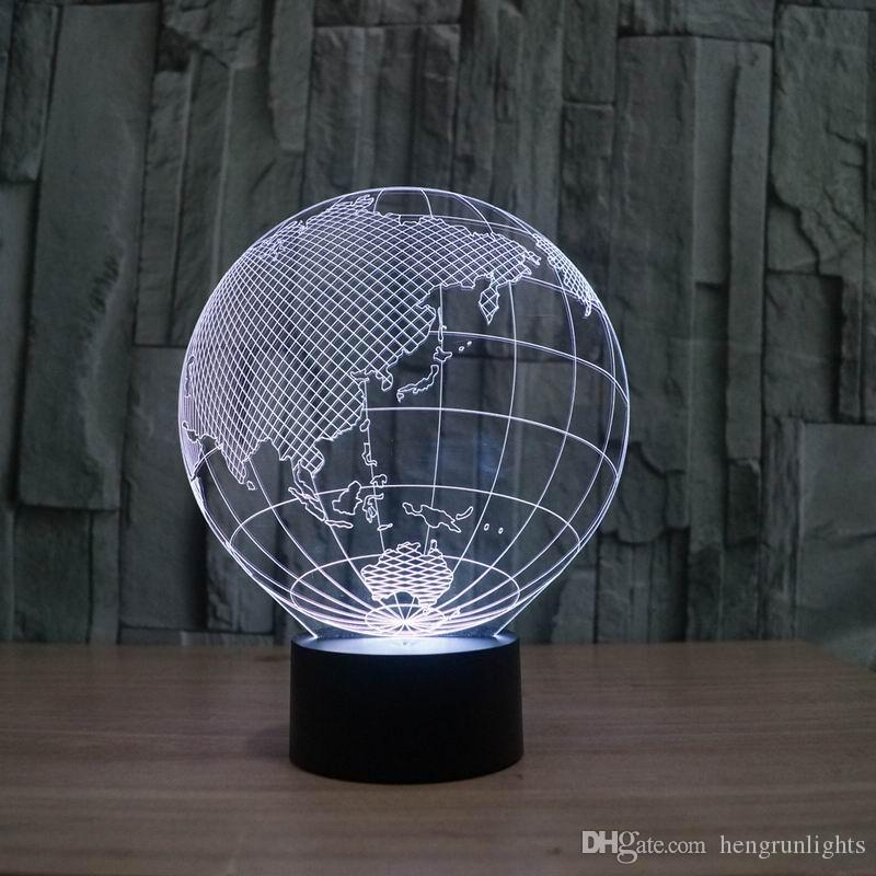 FS-2819 Удивительные 3D Illusion светодиодные настольные лампы Night Light с европы формы земли с 7 цветным светом