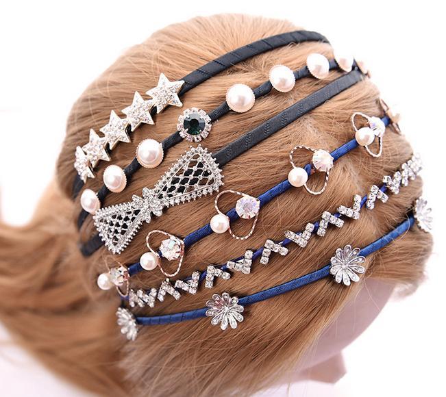 10 قطعة / الوحدة مزيج نمط الألوان كريستال عقال hairband رباطات للشعر مجوهرات هدية HJ021