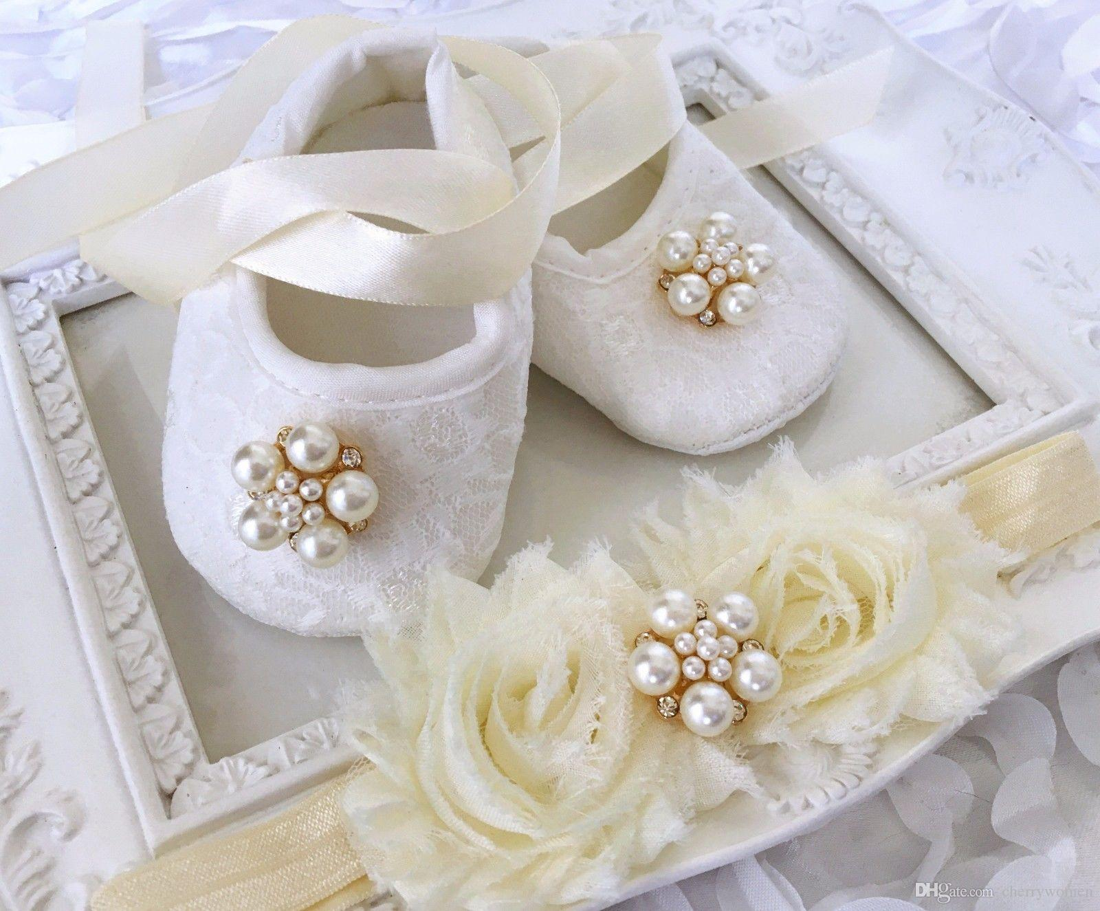 Luxury Baby Girl Ivory Christening Baptism Shoes Rhinestone Pearl