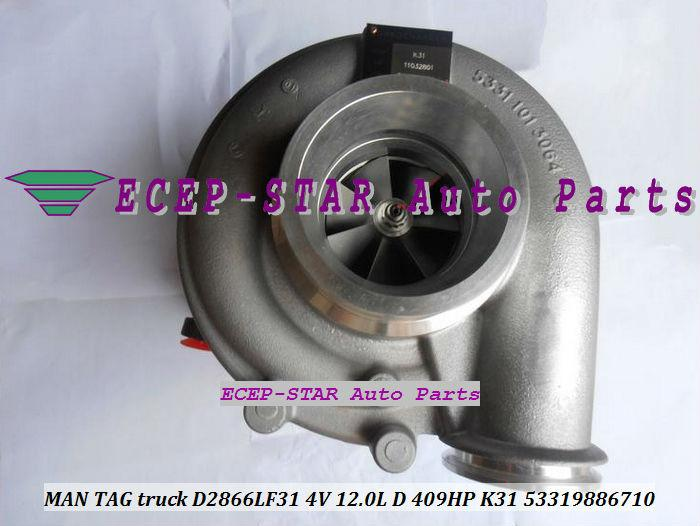 K31 6710 53319886710 53319706710 3593894 53319706727 533198867 Turbo Turbocompressor Para MAN TAG camião D2866LF31 4V 12.0L D 409HP