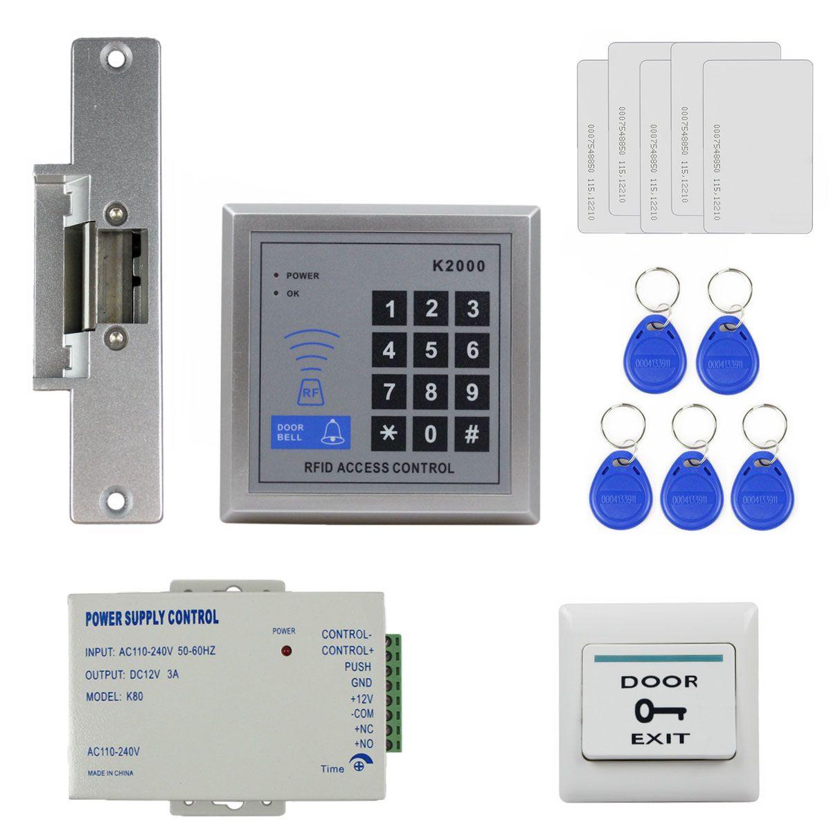 DIYSECUR 액세스 제어 시스템 원격 제어 RFID 리더 전체 키트 세트 + 전기 타격 도어록 + 전원 공급 장치 K2000
