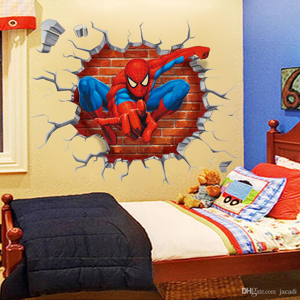 Dhl ~ Factory~superhero 3d Spider Man Wall Stickers Kid Room Home ...