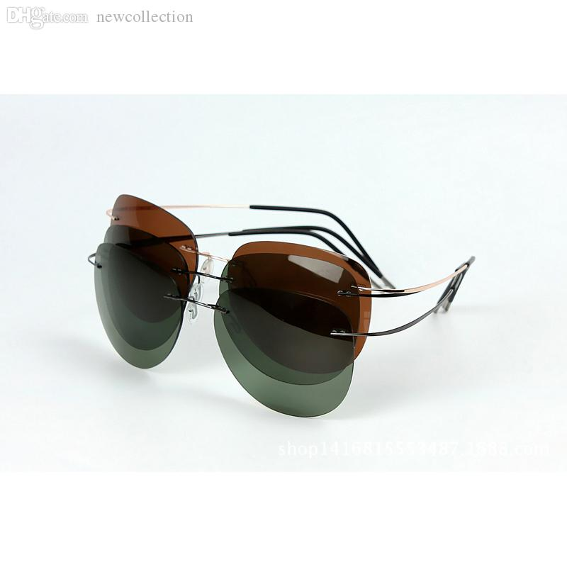 Wholesale-100% Titanium Polaroid super Light Brand Designer sunglasses Rimless Polaroid Gafas Men Polarized Sun glasses eyewear