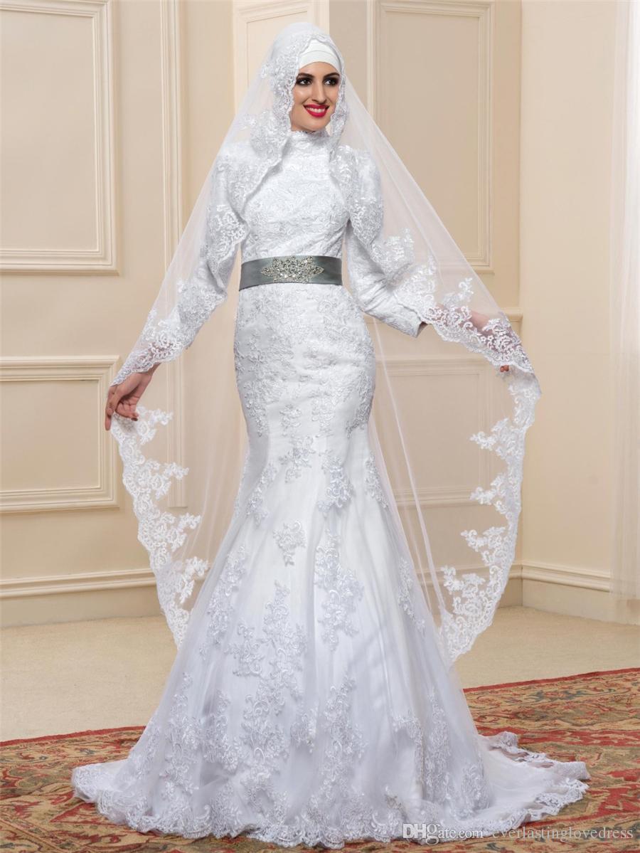Großhandel Neue Dubai Arabische Muslimische Brautkleider Weißer Spitze  Stehkragen Lange Ärmel Meerjungfrau Brautkleider Gehören Der Langlebige