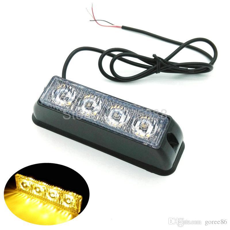 4 LED 4 Watt Mini Compact latéral Avant montage arrière directionnel Strobe Light camion de voiture a conduit clignotant véhicule d'urgence