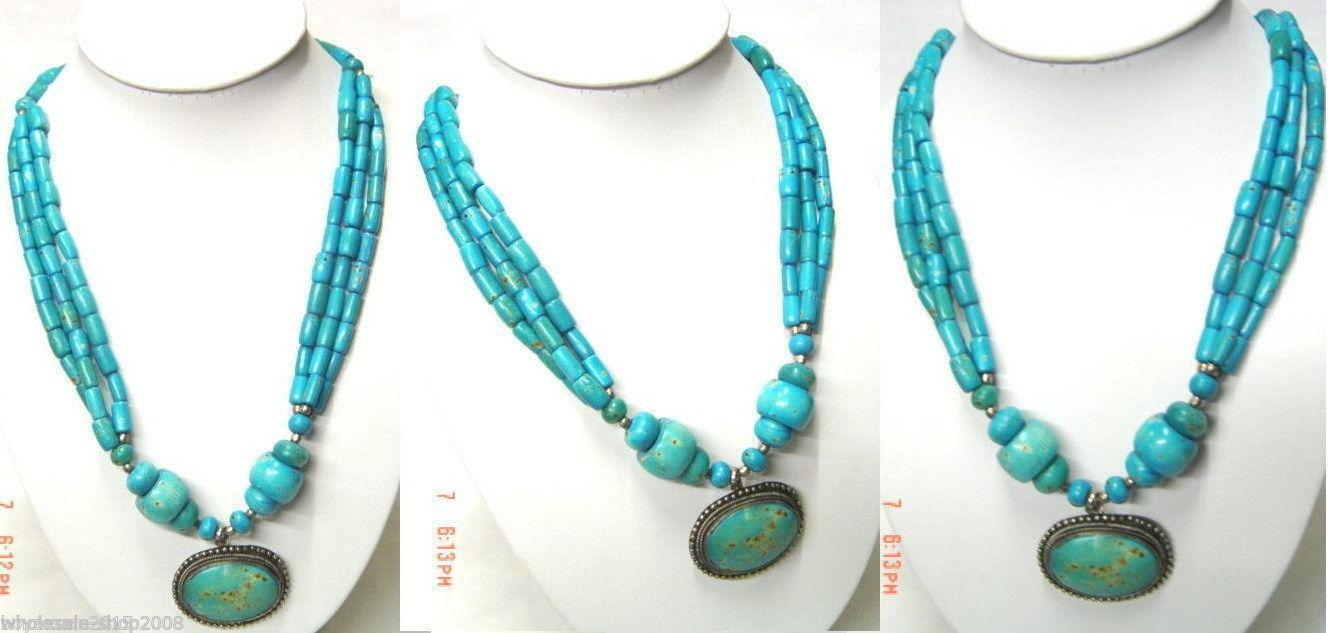 Jóias estilo tibete colar de pingente turquesa