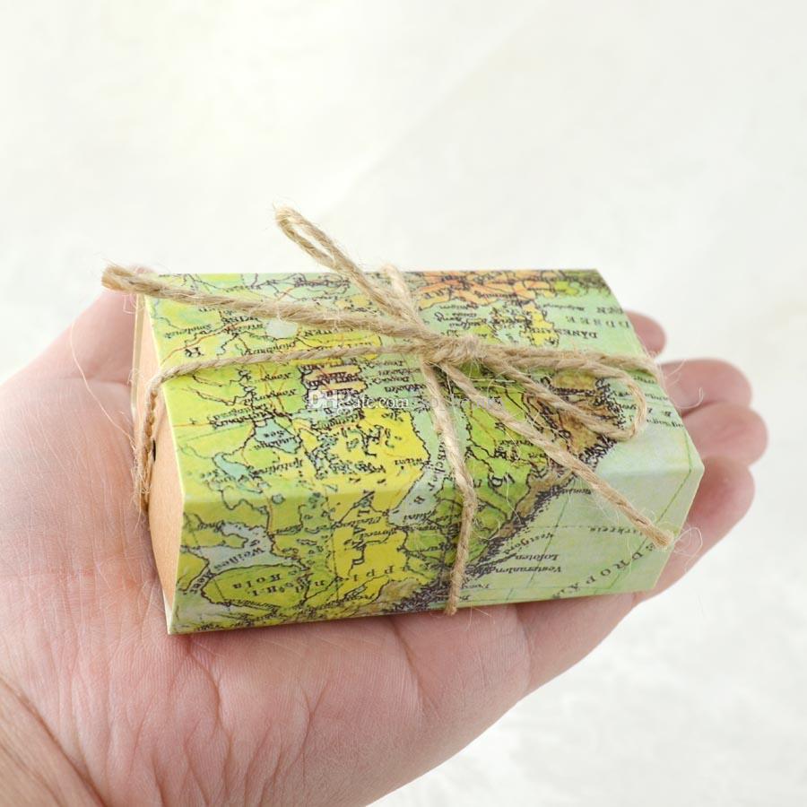 100pcs 레트로지도 크래프트 사탕 상자 웨딩 Faovrs 크리스마스 기념일 파티 선물 종이 상자 녹색 무료 배송