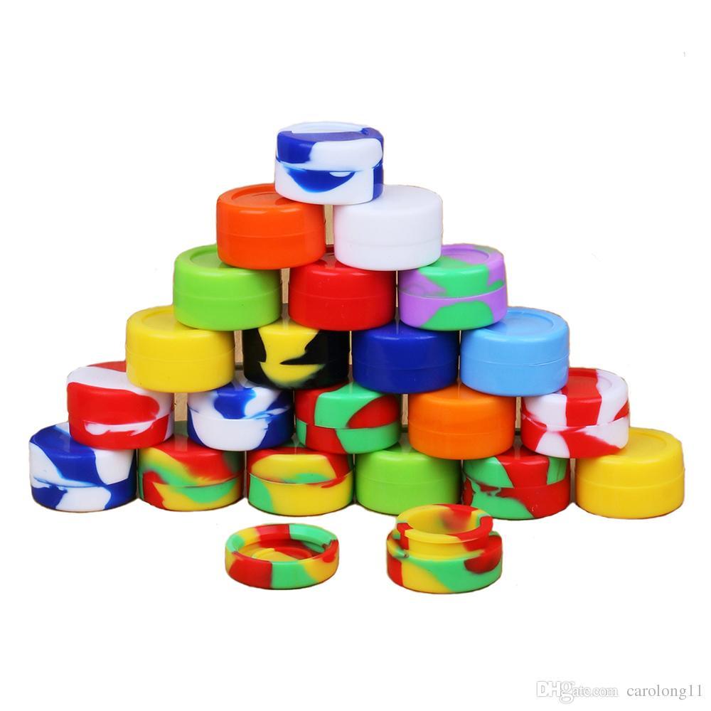 Récipients de cire en silicone anti-adhésifs pour récipients de cire Dab bon marché de 5 ml pour la cire de bocaux en silicone pour cas de concentré 6 dans 1 récipients en silicone Dabs